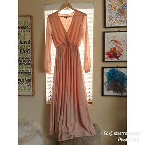 Lulus WONDROUS WATER LILIES BLUSH PINK MAXI DRESS